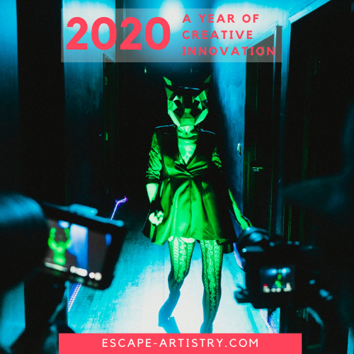 Image Of Woman Walking Down A Dark Hallway With A Stylized Animal Mask On Lit By Green And Blue Lights. Photographers Are Seen Taking Her Picture.