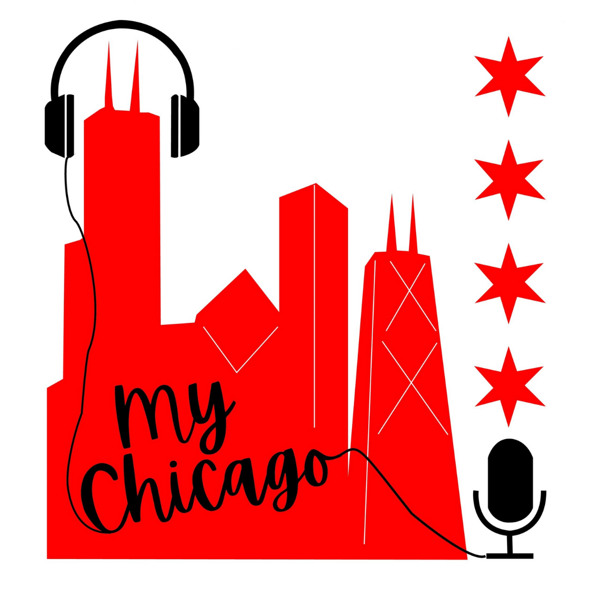 My Chicago Podcast Logo. Red Skyline Of Chicago With Headphones, Microphone, And 4 Stars.