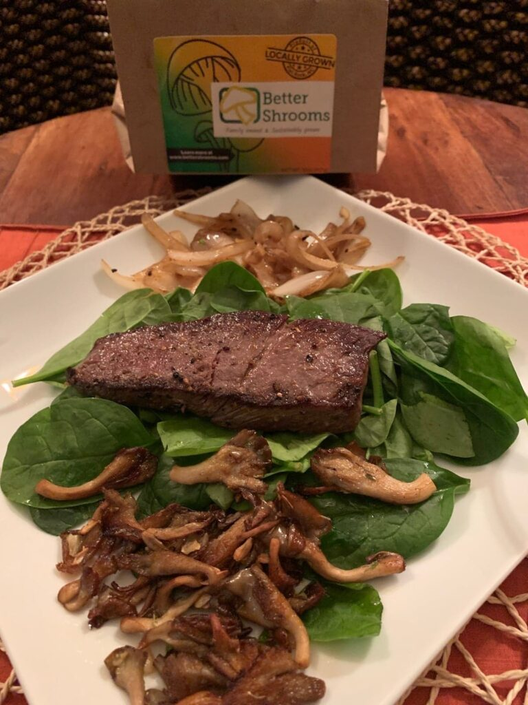 Better Shrooms with Spinach and Steak