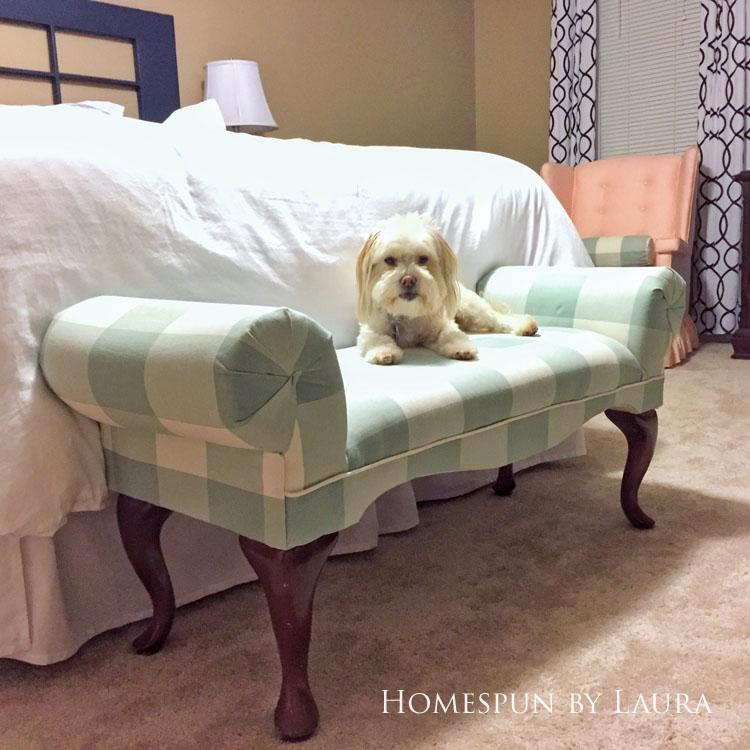 Master bedroom refresh | Homespun by Laura | Upholstered bench