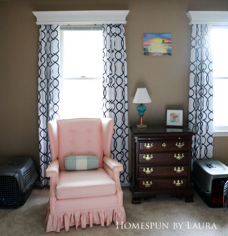 Master bedroom refresh: old French door headboard | Homespun by Laura | Vintage pink wingback chair