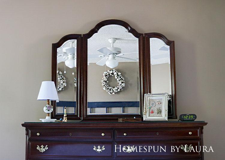 Master bedroom refresh | Homespun by Laura | Dresser with three-way mirror above