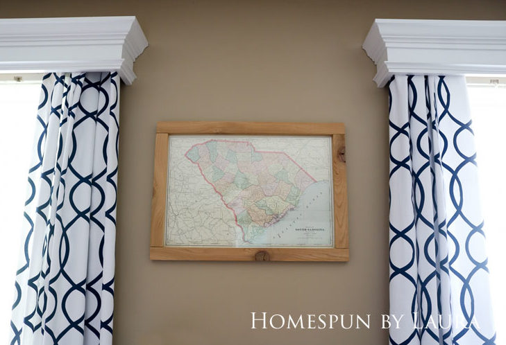 Master bedroom refresh: old French door headboard | Homespun by Laura | DIY cedar frame for antique South Carolina map