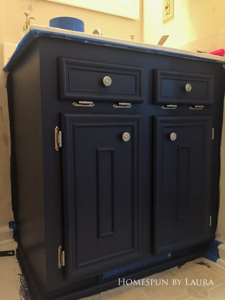 $75 DIY Powder Room (and Pantry!) Update: One Room Challenge Week 2 | Homespun by Laura | DIY vanity update: Painting the cabinet