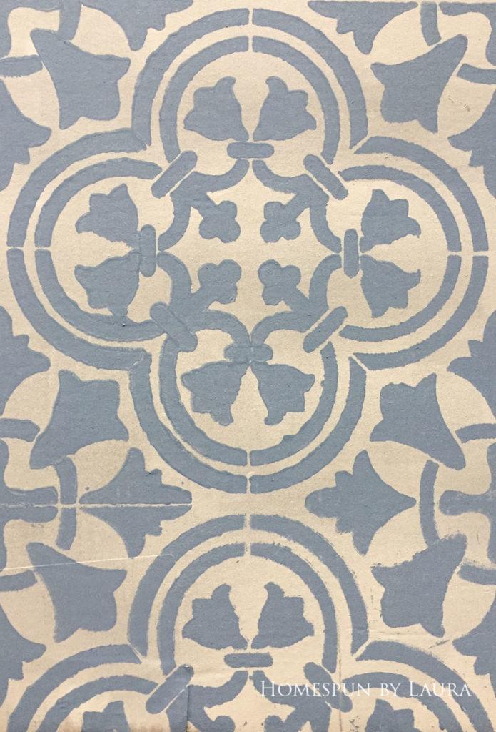 "$75 DIY Powder Room (and Pantry!) Update: One Room Challenge Week 3   Homespun by Laura   Potential floor designs: Cutting Edge ""Augusta"" stencil, dark on light"