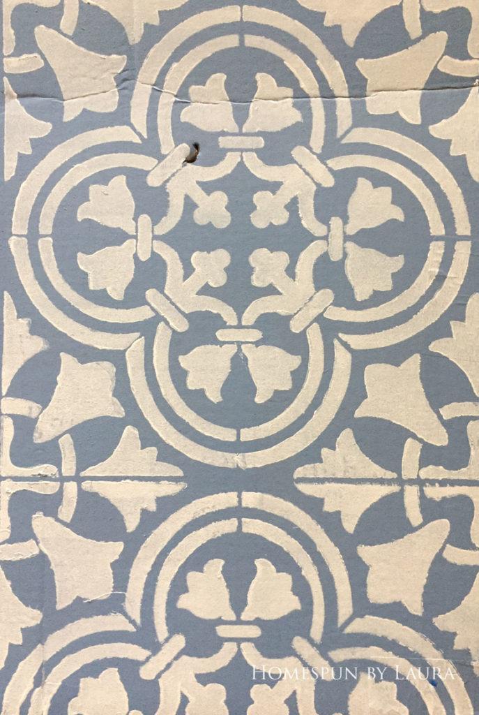 "$75 DIY Powder Room (and Pantry!) Update: One Room Challenge Week 3   Homespun by Laura   Potential floor designs: Cutting Edge ""Augusta"" stencil, light on dark"