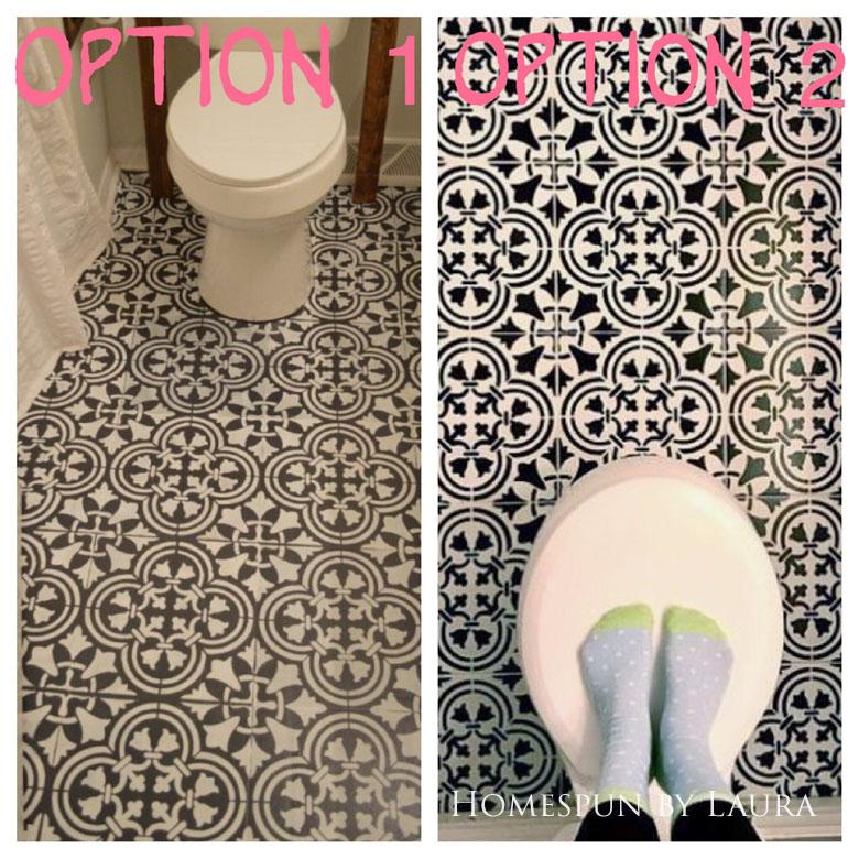 "$75 DIY Powder Room (and Pantry!) Update: One Room Challenge Week 3   Homespun by Laura   Potential floor designs: Cutting Edge ""Augusta"" stencil"