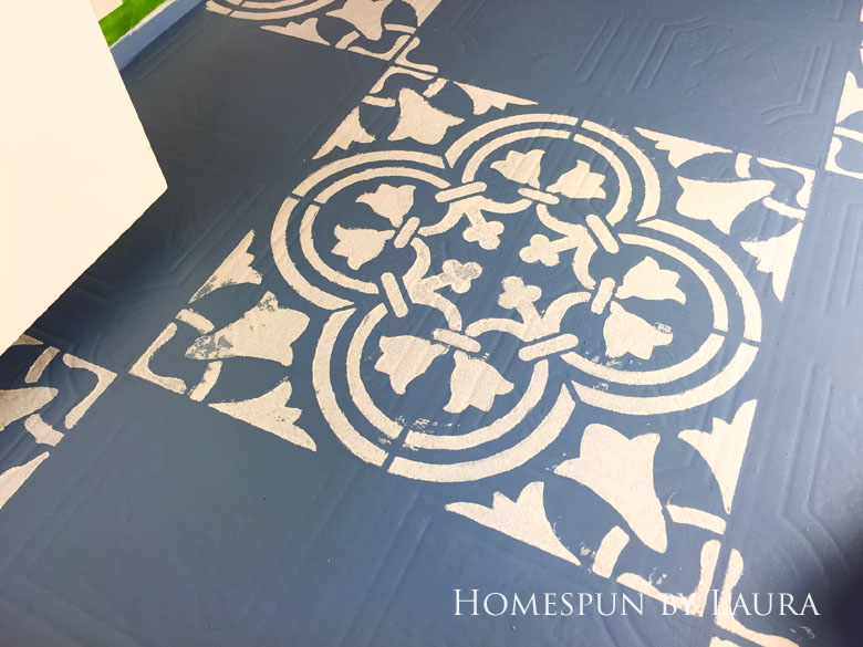 """$75 DIY Powder Room (and Pantry!) Update: One Room Challenge Week 3   Homespun by Laura   Painting a linoleum floor with Cutting Edge """"Augusta"""" stencil"""