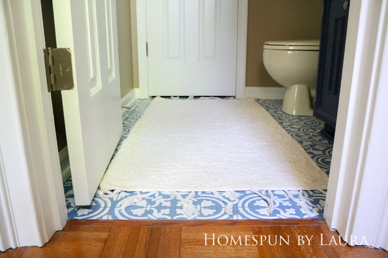 """$75 DIY Powder Room (and Pantry!) Update: One Room Challenge Week 3   Homespun by Laura   Painting a linoleum floor with Cutting Edge """"Augusta"""" stencil: The After"""