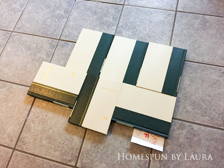"""$75 DIY Powder Room (and Pantry!) Update: One Room Challenge Week 3   Homespun by Laura   Painting a linoleum floor with Cutting Edge """"Augusta"""" stencil: Preparing the surface"""