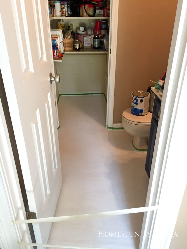 """$75 DIY Powder Room (and Pantry!) Update: One Room Challenge Week 3   Homespun by Laura   Painting a linoleum floor with Cutting Edge """"Augusta"""" stencil: Priming the floor"""