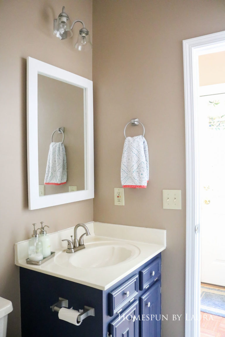 $75 DIY Powder Room (and Pantry!) Update: One Room Challenge Week 3 | Homespun by Laura | Make a DIY framed mirror for under $15 in a few hours without any power tools!