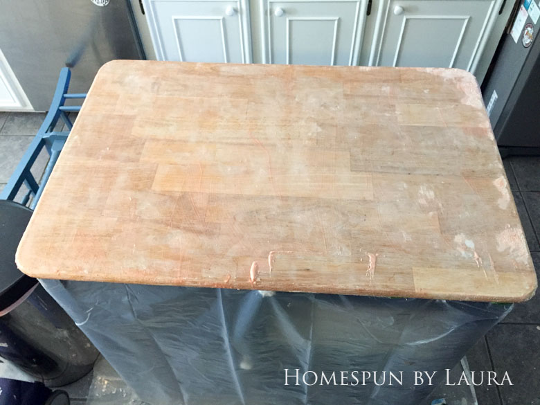 Stripping the faux painted marble finish down to original butcher block on my navy kitchen island | Homespun by Laura