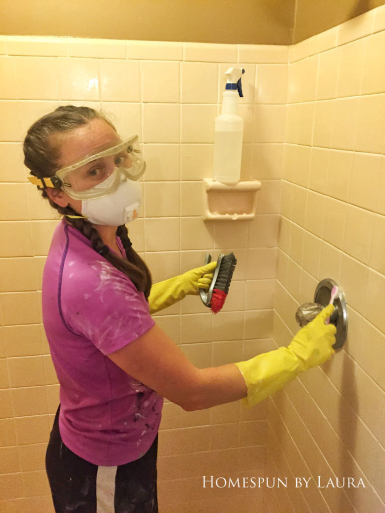 Using home made bleach & baking soda cleaner and a bleach pen to clean gross shower grout