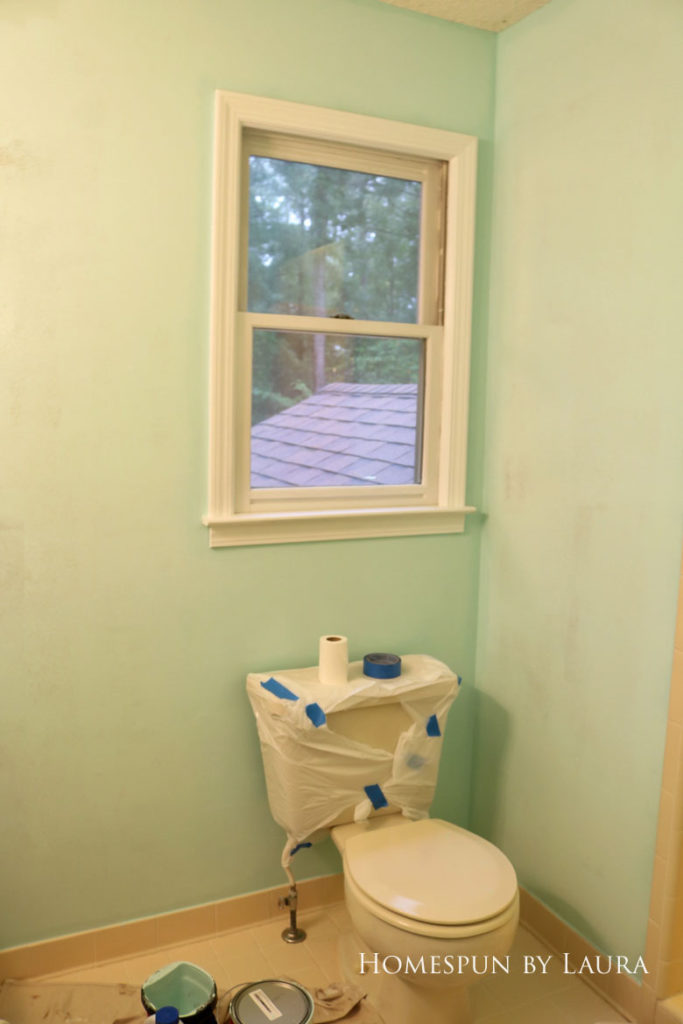 $200 Mater Bathroom Refresh | Homespun by Laura | How to paint behind a toilet