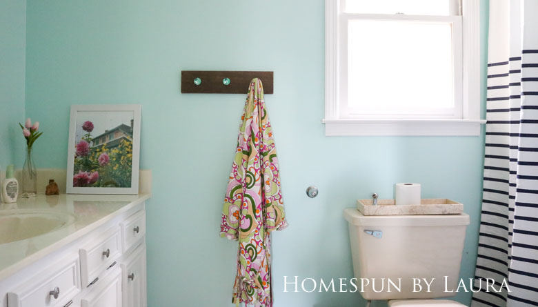 The $200 Master Bathroom Refresh | Homespun by Laura | The After: DIY shelf made with Liberty Hardware faceted glass knobs