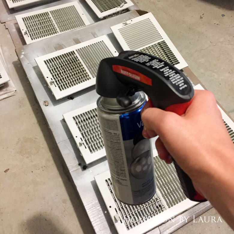 30 Projects in 30 Days: Week 4 | Homespun by Laura | Spray painting dirty, rusty air conditioner grates is an easy and inexpensive way to make an impact on a budget.