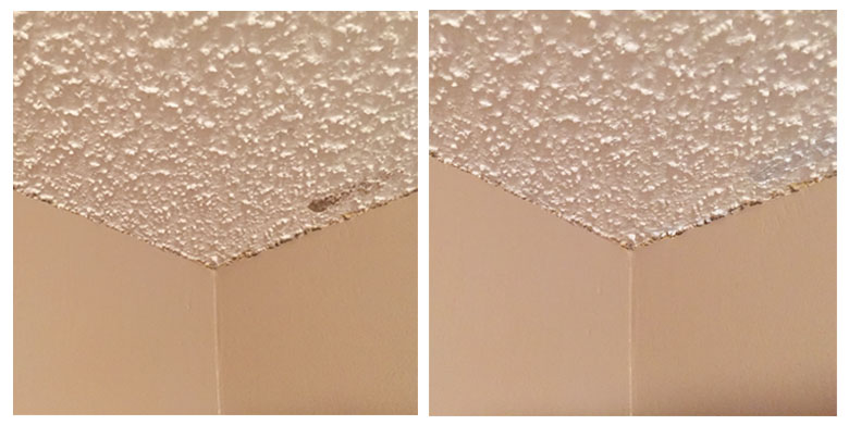 Touching up the popcorn ceilings | Homespun by Laura