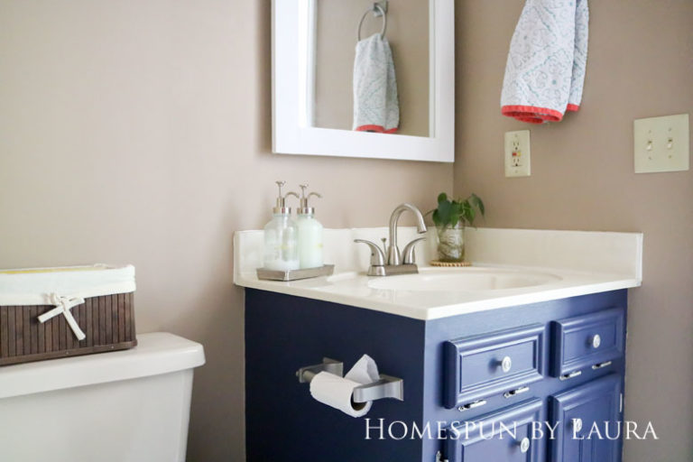 $75 DIY Powder Room (and Pantry!) Update: One Room Challenge Reveal | Homespun by Laura | Simple bathroom vanity decor