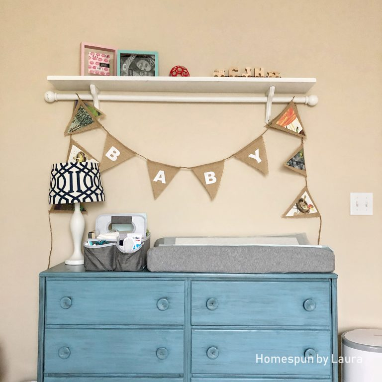 Vintage Toy Neutral nursery in progress - Fall 2018 One Room Challenge - using dresser for changing table