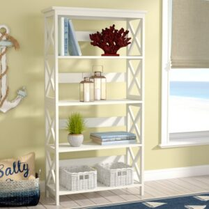 Tall White open sided etagere bookcase