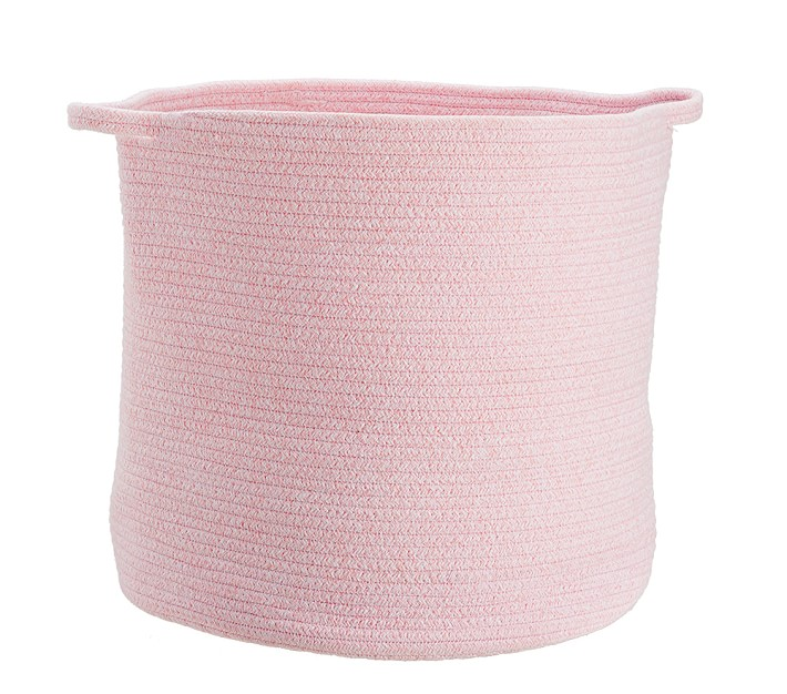 This pink Pottery Barn Kids Sloan rope basket is pretty, but it is a splurge!