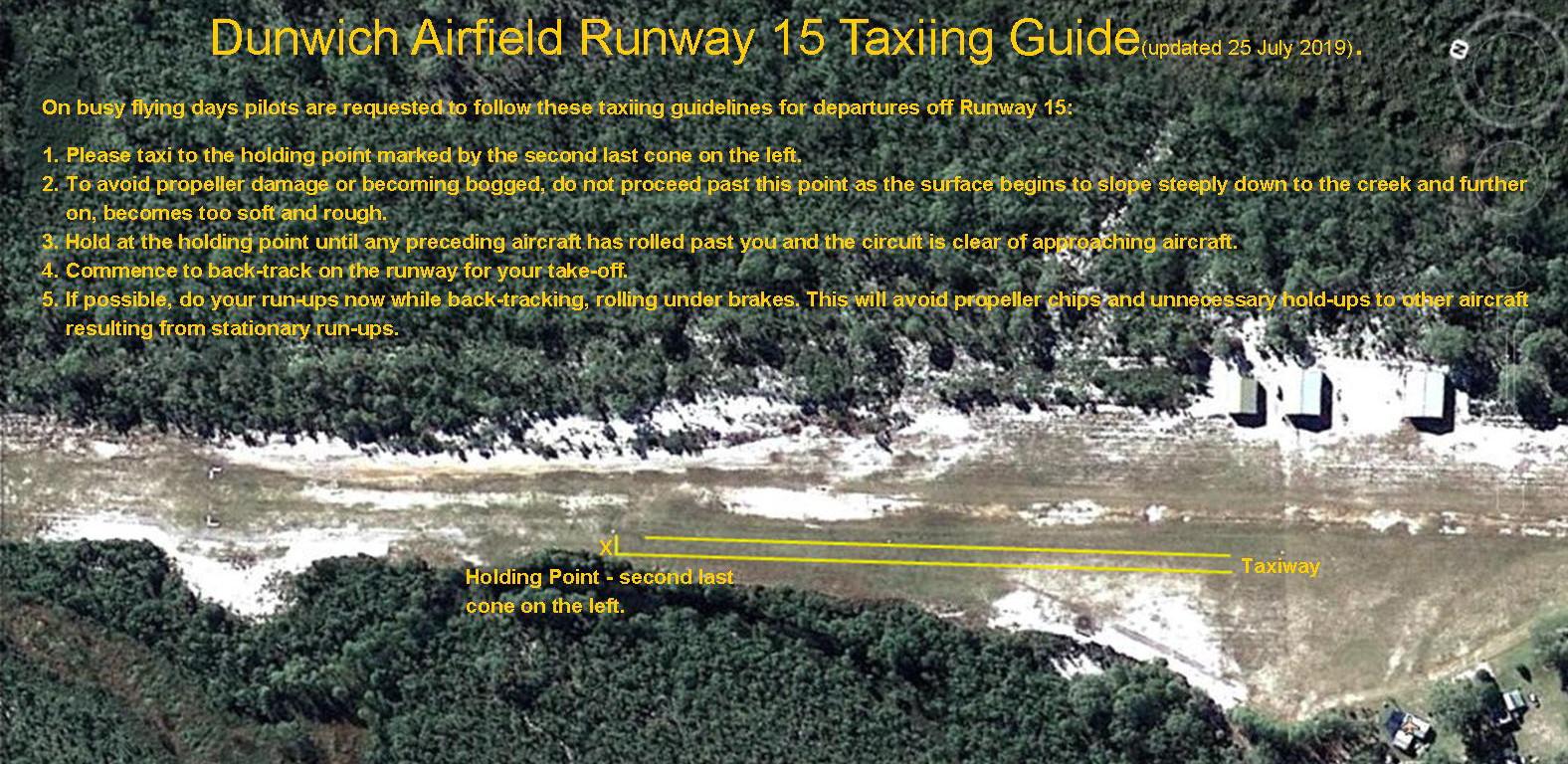 Runway 15 taxiing 25-7-19