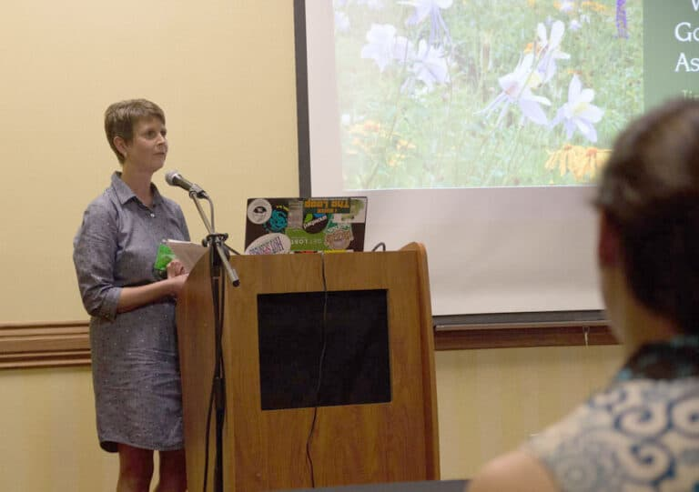 An OWAA member gives a presentation from a podium