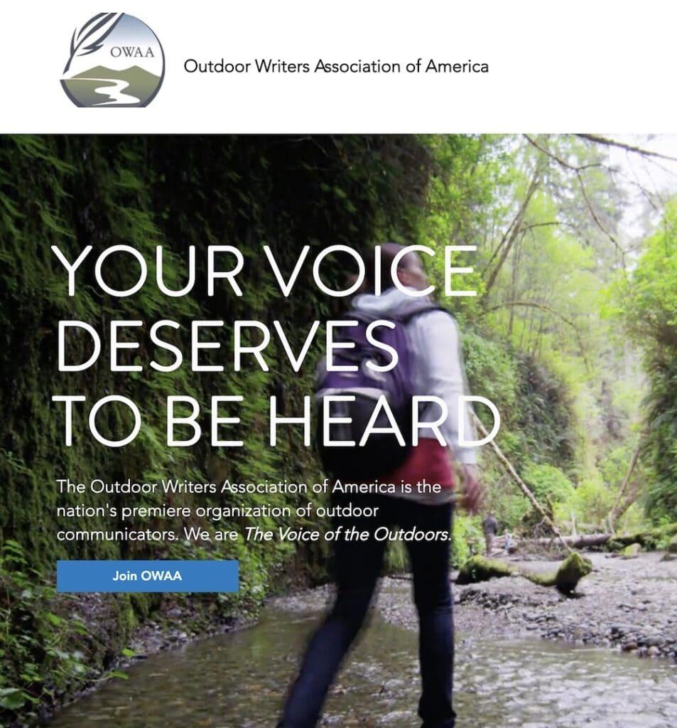 Screenshot of OWAA.org main page
