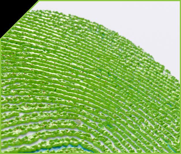 A closeup of a 3D fingerprint scan