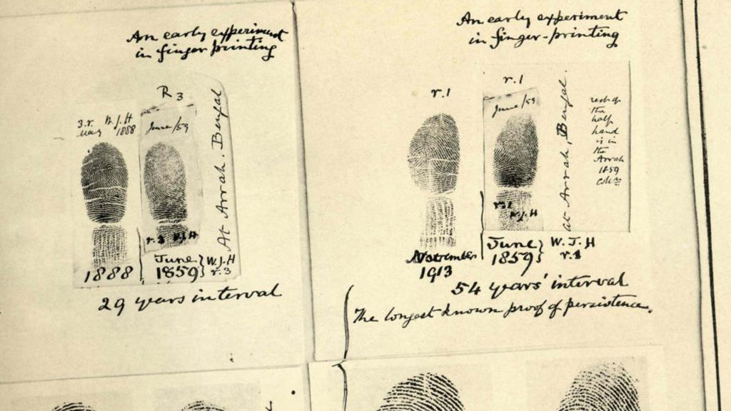 An image of a set of fingerprints from the 1800s
