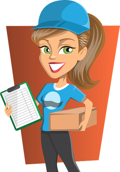Delivery girl shipping cbd products