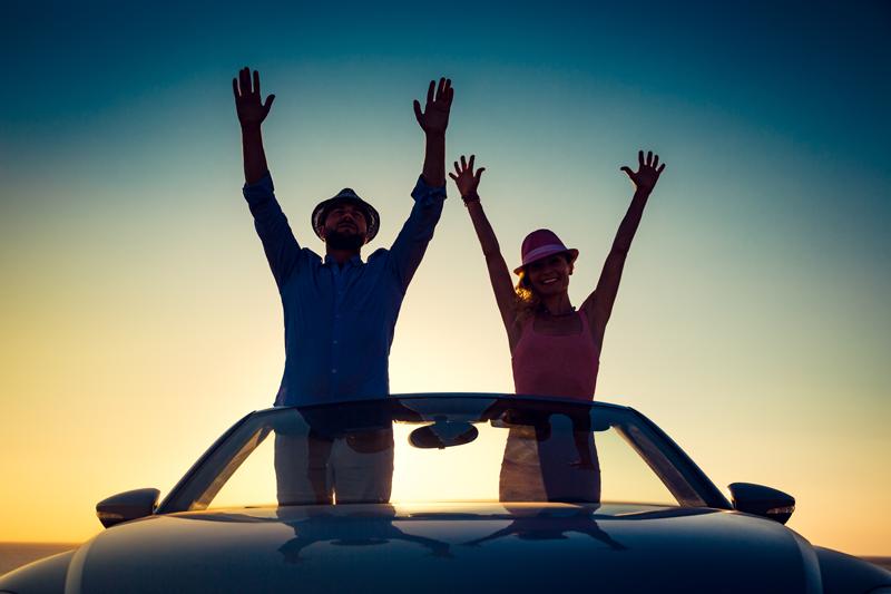 Happy car buyers