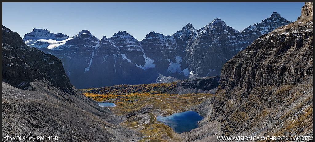 PM141-B-The-Divide-Sentinal-Pass-South-View-Larches-Valley-Ten-Peaks-Moraine-Lake-Banff-National-Park-Alberta-Canada-Chris-Collacott copy