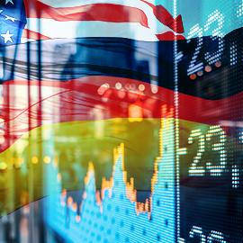 American Flag and Stock Market For izotropic corporation square graphic