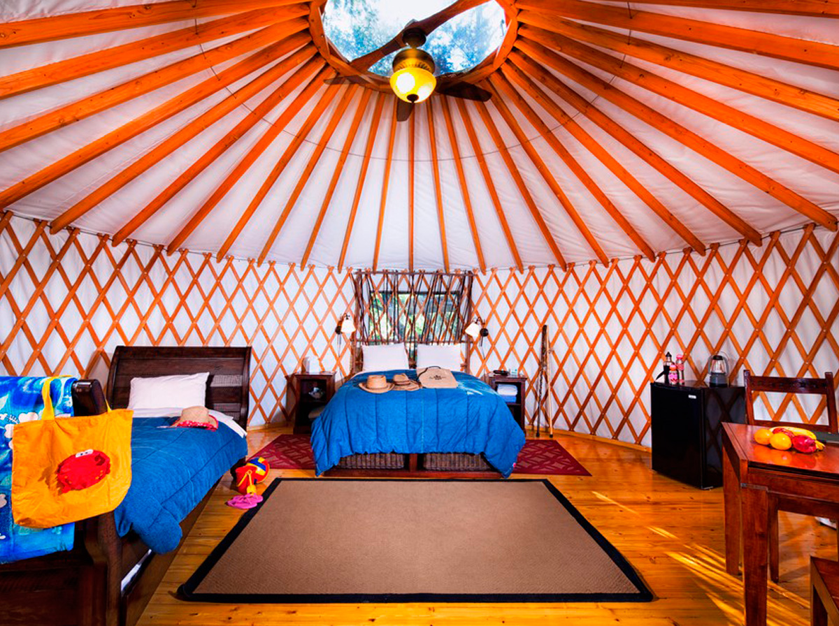 Adventure Yurt El Capitan Canyon Nature Lodging On The California Coast The interior is simply furnished with brightly coloured rugs. adventure yurt el capitan canyon nature lodging on the california coast