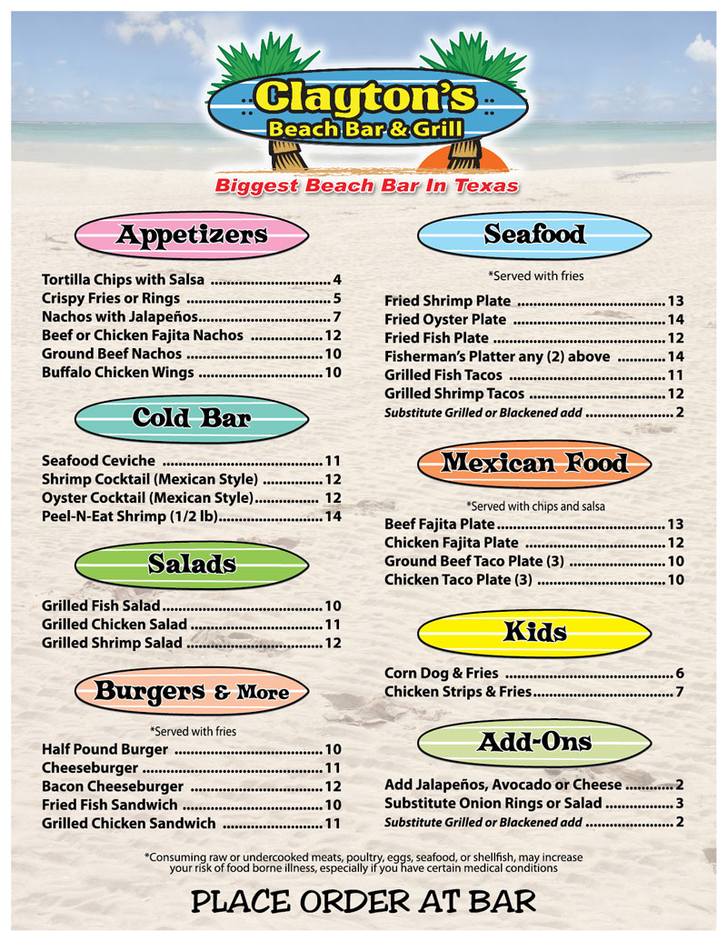 Clayton's Beach Bar & Grill Menu