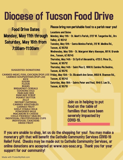Diocese of Tucson Food Drive