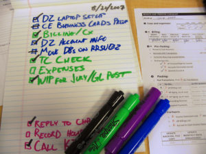 Image of a task list with some things checked off.