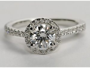 $7,230 A Floating Halo Engagement Ring by Blue Nile | Engagement Ring Voyeur