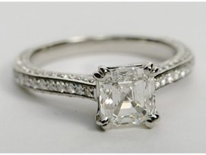 $5,277 Double Claw Prong Setting Asscher Engagement Ring
