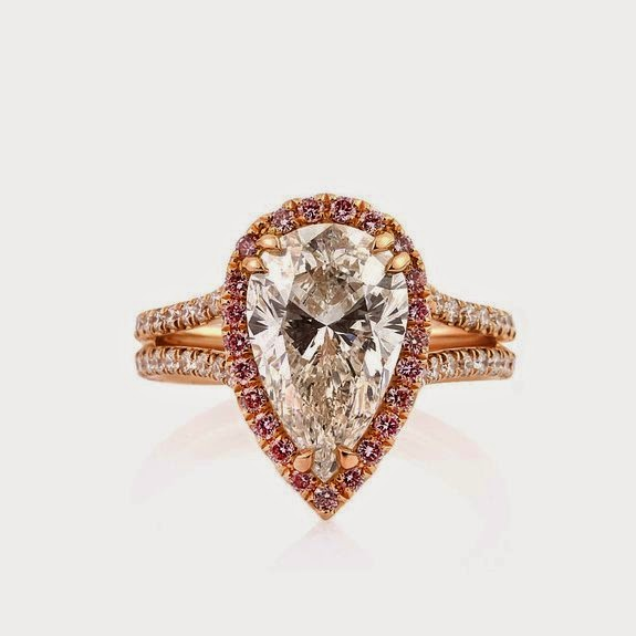 Rose Gold Pear Halo Engagement Ring