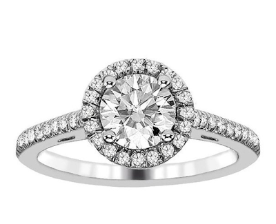 1.22 ct cathedral halo engagement ring under $3000