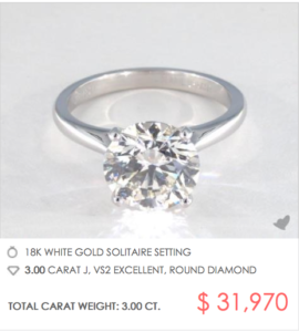 A 3 Carat Solitaire Engagement Ring for $31,970