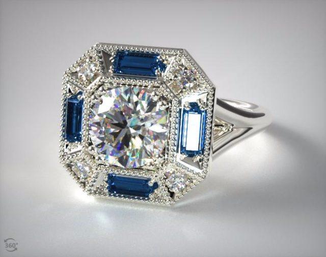New Vintage Sapphire Engagement Ring James Allen