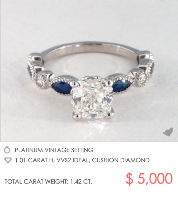 Platinum sapphire engagement ring with millegrain detail