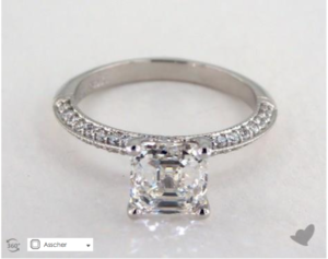 A Pave Knife Edge Lotus Basket Asscher Solitaire for $16,110 | Engagement Ring Voyeur