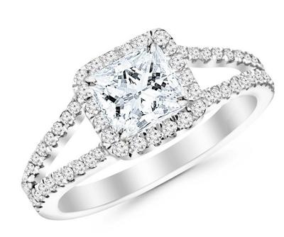 split shank white gold engagement ring
