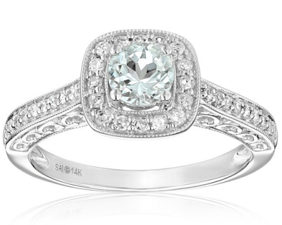 aquamarine engagement ring on Amazon
