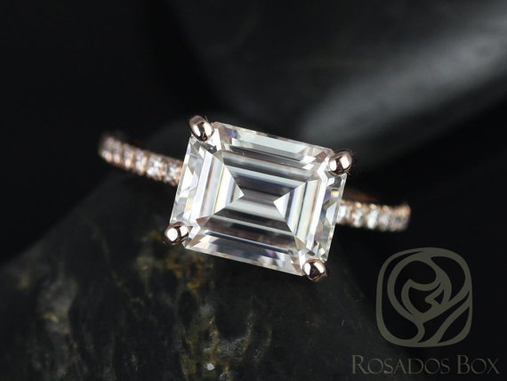 east-west setting with an asscher moissanite